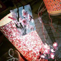 lampe papier japonais fleurs de pruniers pourpres agnes clairand
