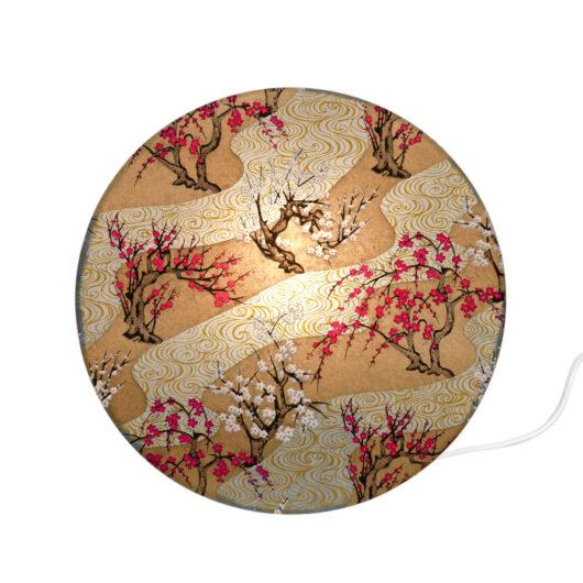 Applique murale cylindrique en papier japonais haut de gamme