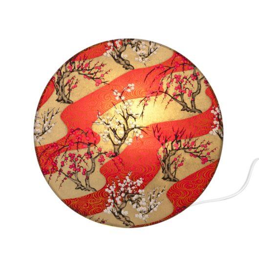 Applique lumineuse cylindrique en papier japonais allumee haut de gamme