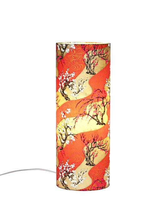 Lampe de bureau zen vague rouge en papier japonais allumee