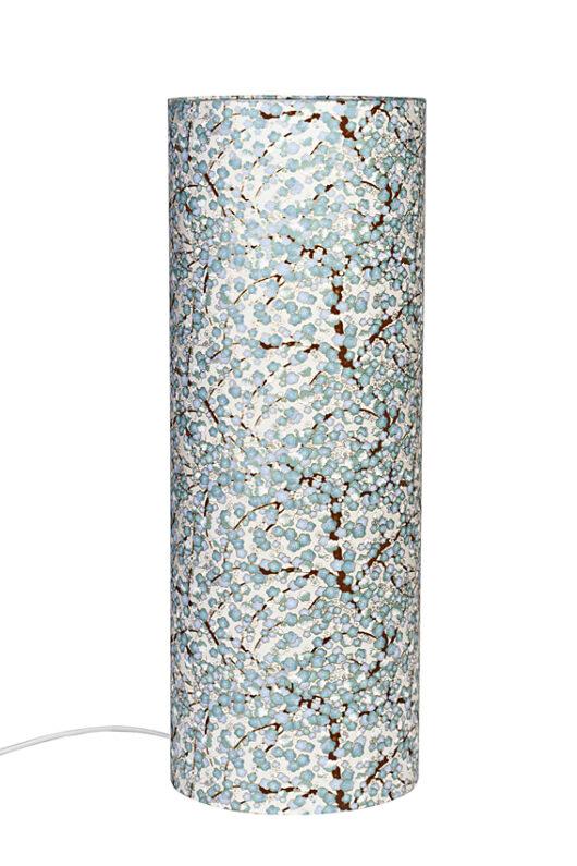 Lampe de table Liberty bleue en papier japonais eteinte