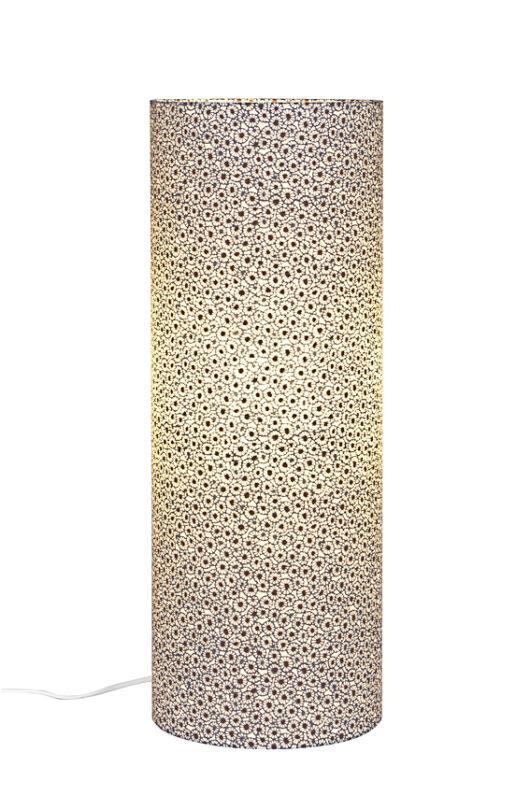 Lampe de table azul ethnic en papier japonais allumee