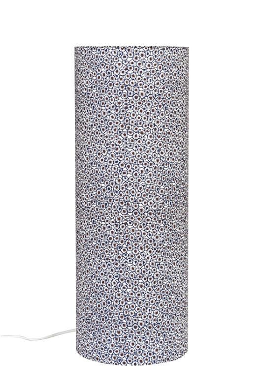 Lampe de table azul ethnic en papier japonais eteinte