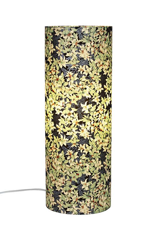 Lampe de table zen menthe en papier japonais allumee