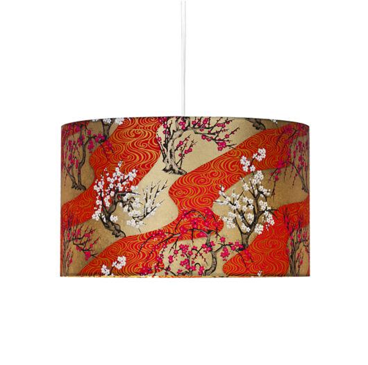 Plafonnier Zen vague rouge allume