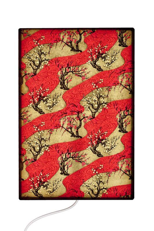 Tableau lumineux Zen vague rouge allume