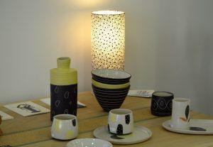 Lampe tube à pose Agnès CLairand en papier japonais