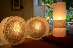 Lampes en dentelles de papier pièces  uniques