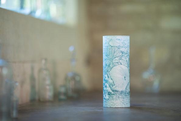Lampe d'artiste au potiron en papier japonais