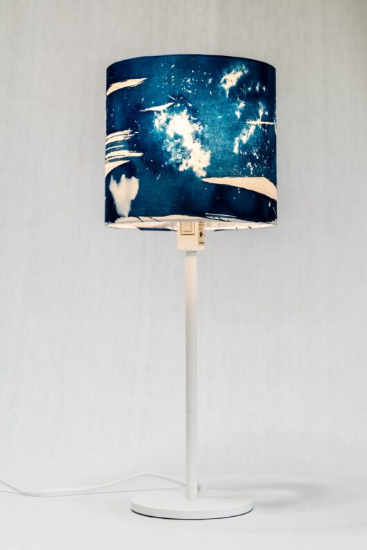 Abat-jour hortensia S en cyanotype