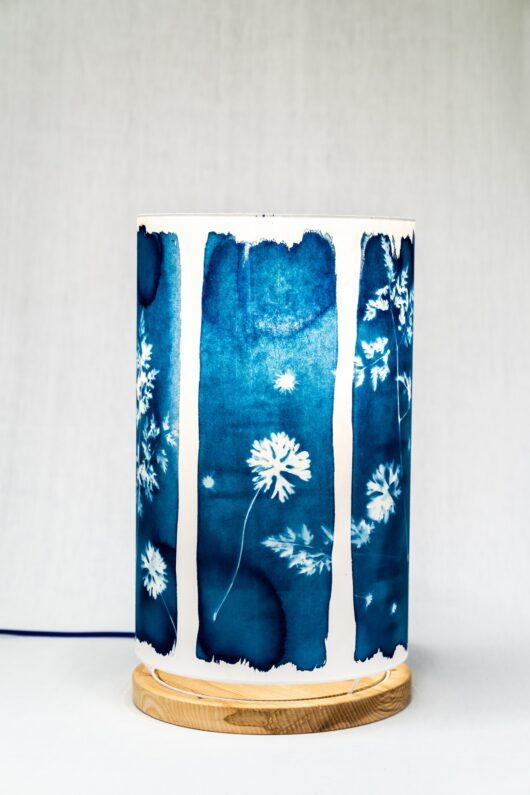 Lampe en cyanotype à l'hortensia XL