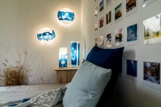 Lampes en cyanotype chambre