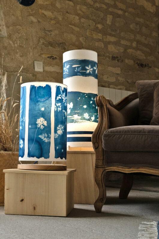 Lampes cyanotype au salon