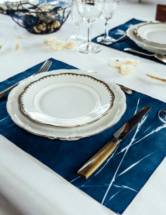 Set de table epis de blé bleu