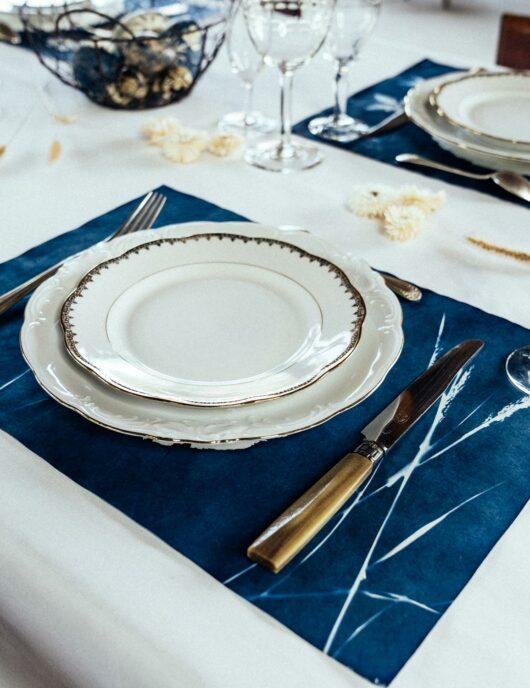 Set de table epis de blé bleu