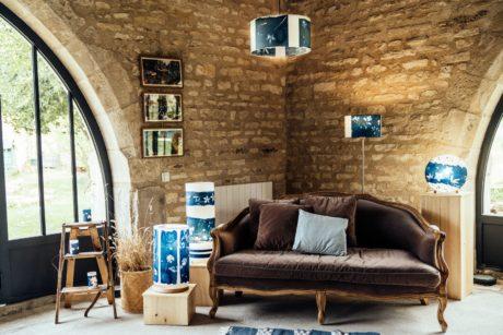 Lampes en cyanotype pour le salon