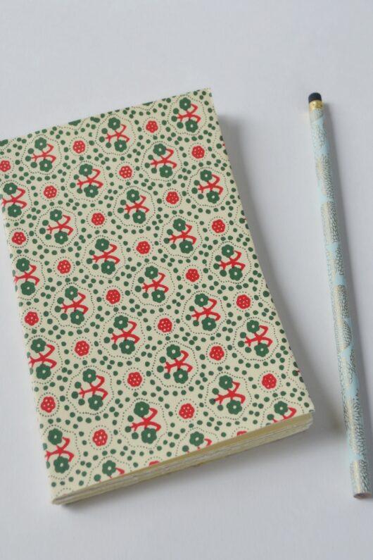 Carnet papier japonais rouge et vert