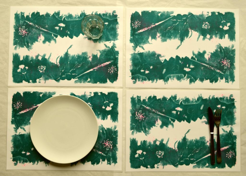 sets de table cyanotype verts