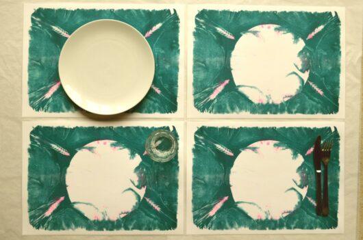 sets de table risographie et cyanotype verts