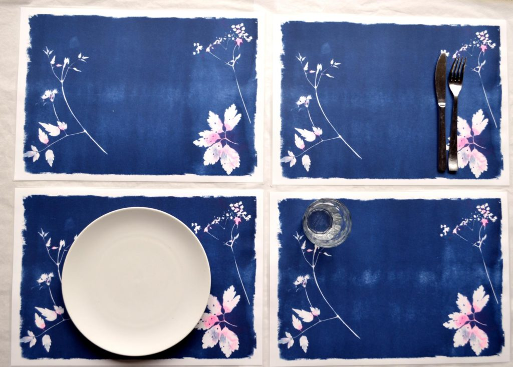 Sets de table en cyanotype